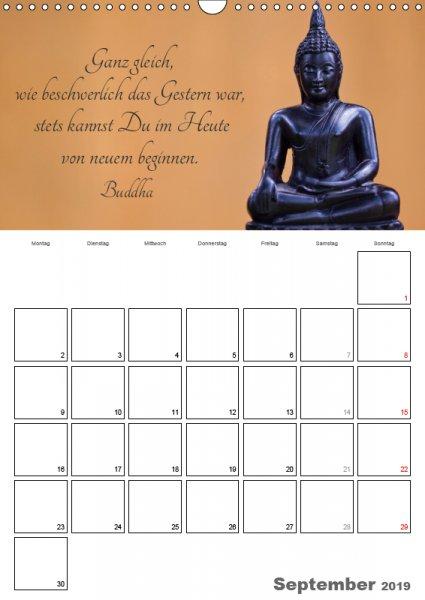 09 September Familienplaner Harmonie und Freude Buddhistische Weisheiten 2019