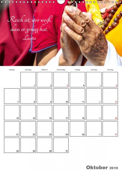 10 Oktober Familienplaner Harmonie und Freude Buddhistische Weisheiten 2019